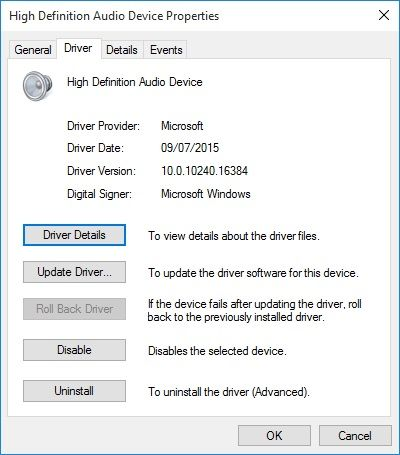 reset audio drivers