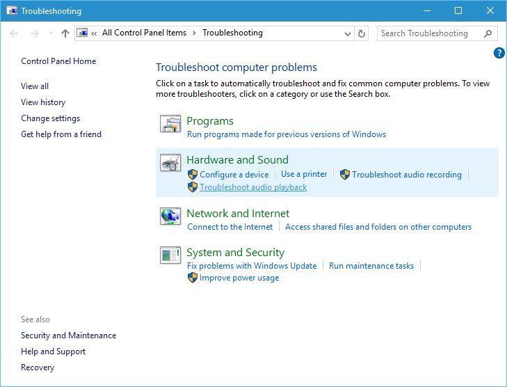 run windows audio troubleshoot
