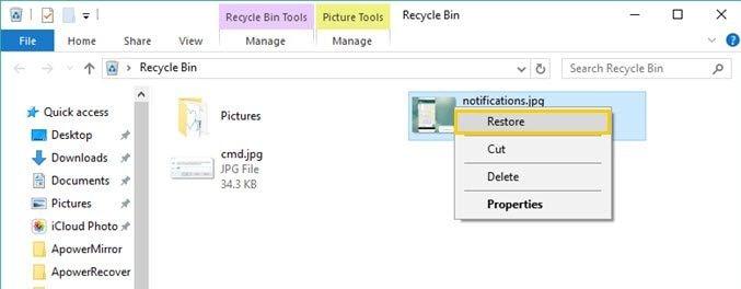 Restore From Recycle Bin