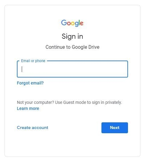 login-into-google-drive