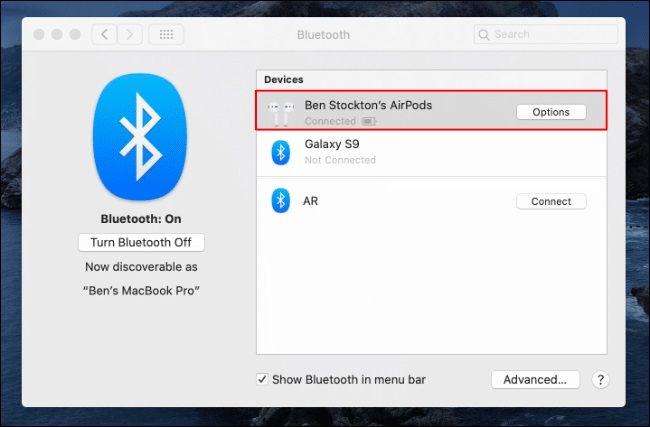 MacBook Bluetooth Settings