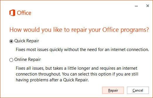 start office quick repair