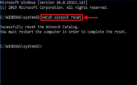 netsh winsack reset