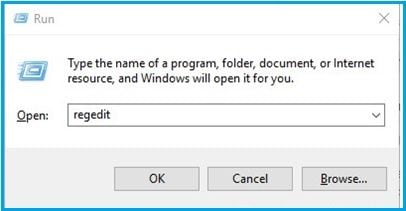 type regedit in Windows registry dialog box