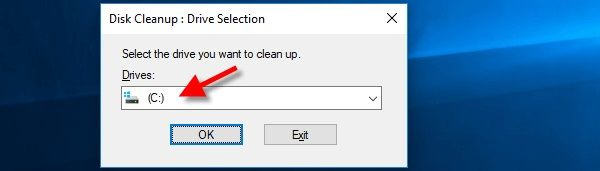 Selecting the drive for Cleanup