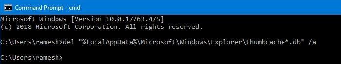Using command prompt to delete cache files