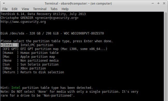 recover files using testdisk 3