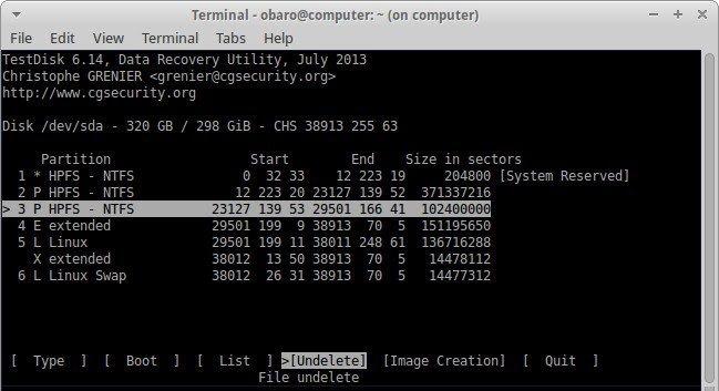 recover files using testdisk 5