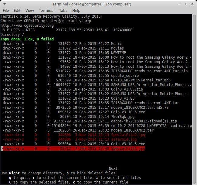 recover files using testdisk 7