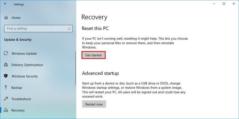 reset windows 1