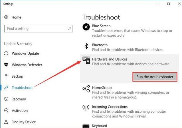 run the troubleshooter highlighted