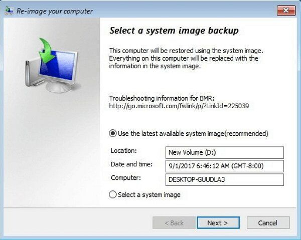 select-a-system-image-backup