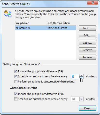 send receive groups outlook