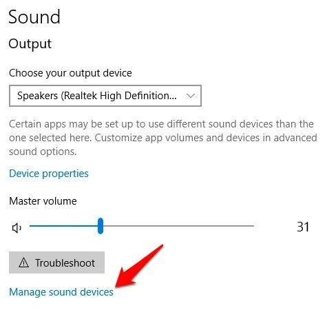 Sound Output Settings