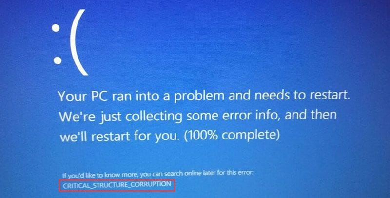 stop code critical structure corruption