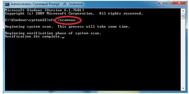 System scan with scannow command in CMD.