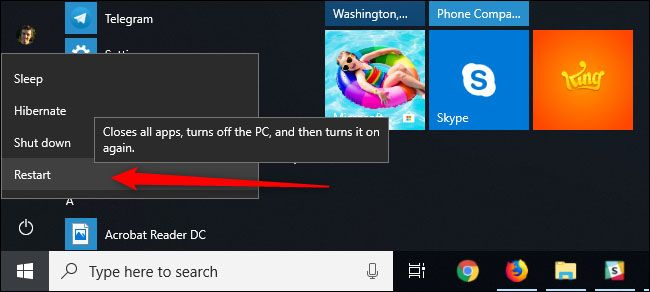 windows 10 restart