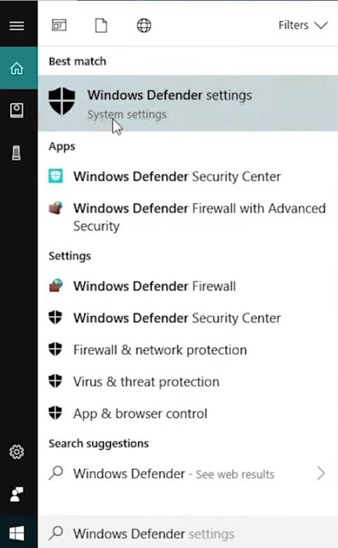 windows defender settings search.