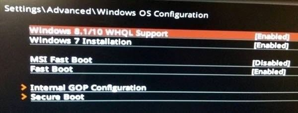windows whql support in bios 1