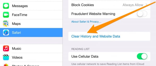 clear cookies and history on iPhone