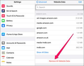 clear website data