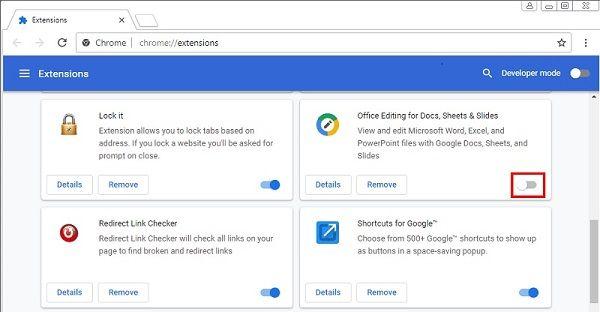 Disable Google Chrome Extensions