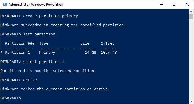 active partition diskpart