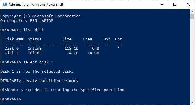 create partition diskpart