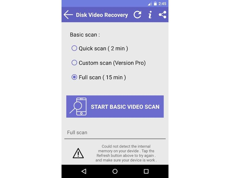 scanning using disk video recovery