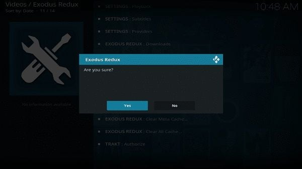 kodi deleting data prompt