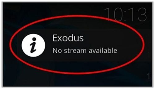 exodus no stream available error