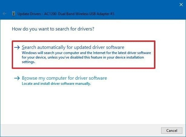 search automatically driver update device manager option