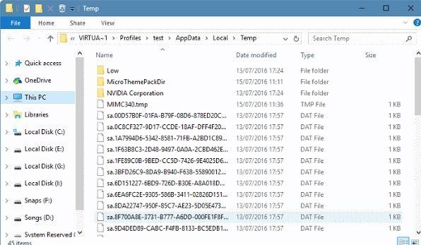 deletar arquivos temporários
