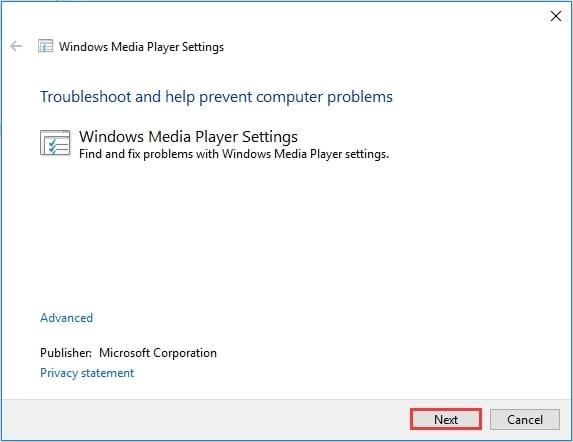 run windows media player troubleshooter