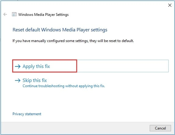 select apply this fix to reset settings