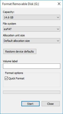 Exfat mit Datei-Explorer formatieren