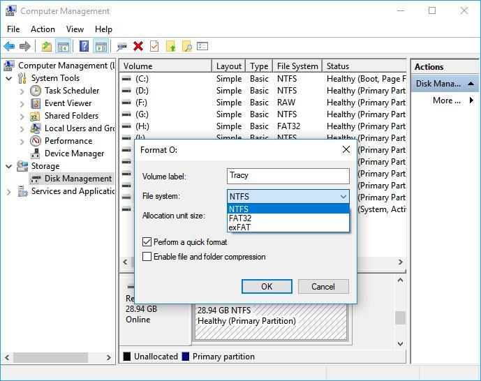 Formatieren in ntfs mit Datenträgerverwaltung