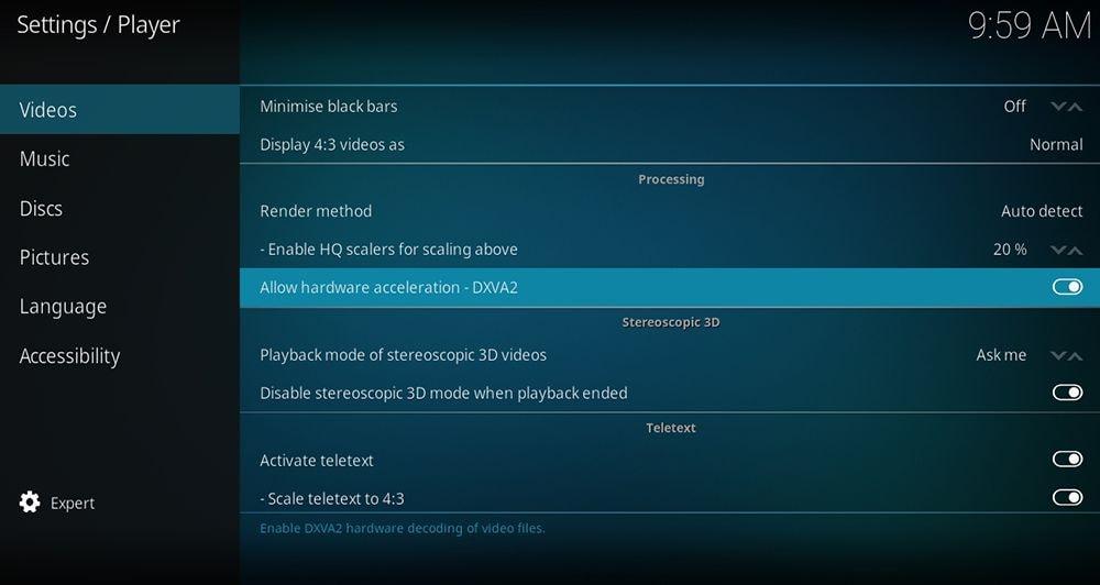 disable allow hardware acceleration dxva2