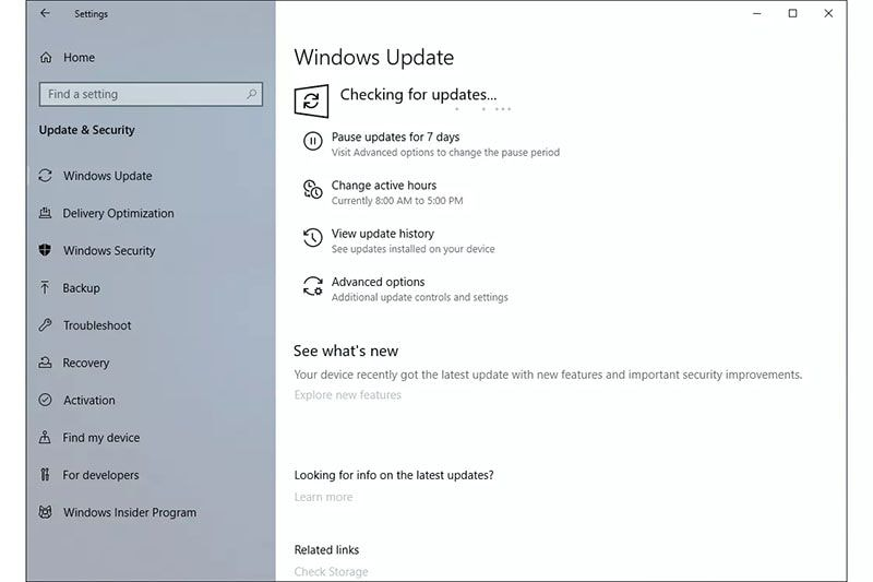 eseguire windows update