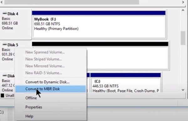 covert to mbr disk