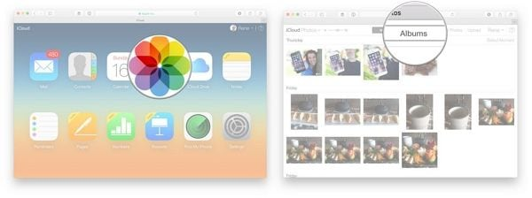 click on the photos icon followed by albums