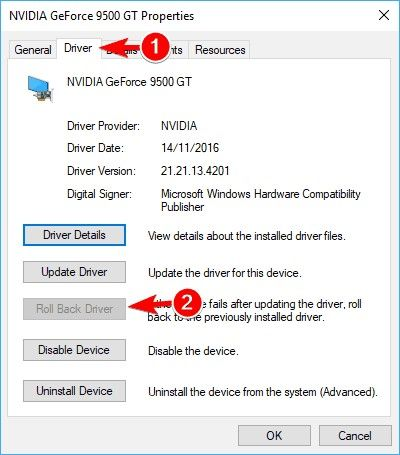 rollback updated device driver 3