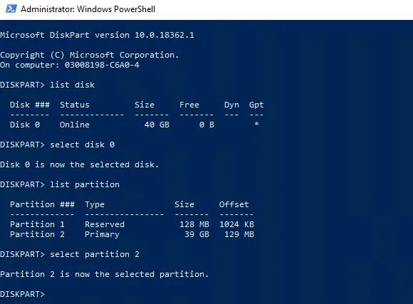 select partition 2