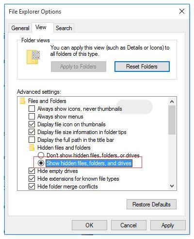 show 20 hidden files file explorer