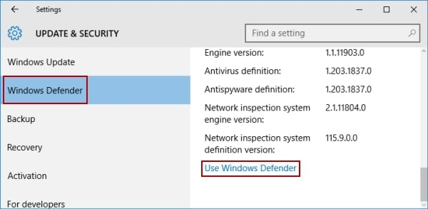 use windows defender to remove malware