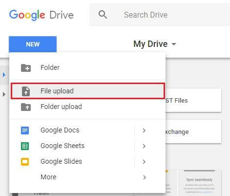 upload files on the drive