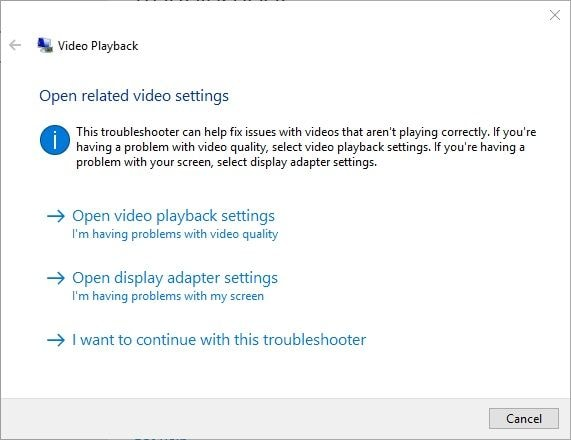Video Troubleshooting Results