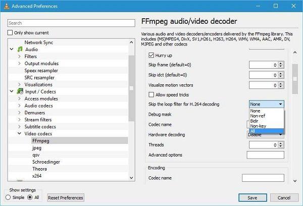 vlc skip h246 encoding