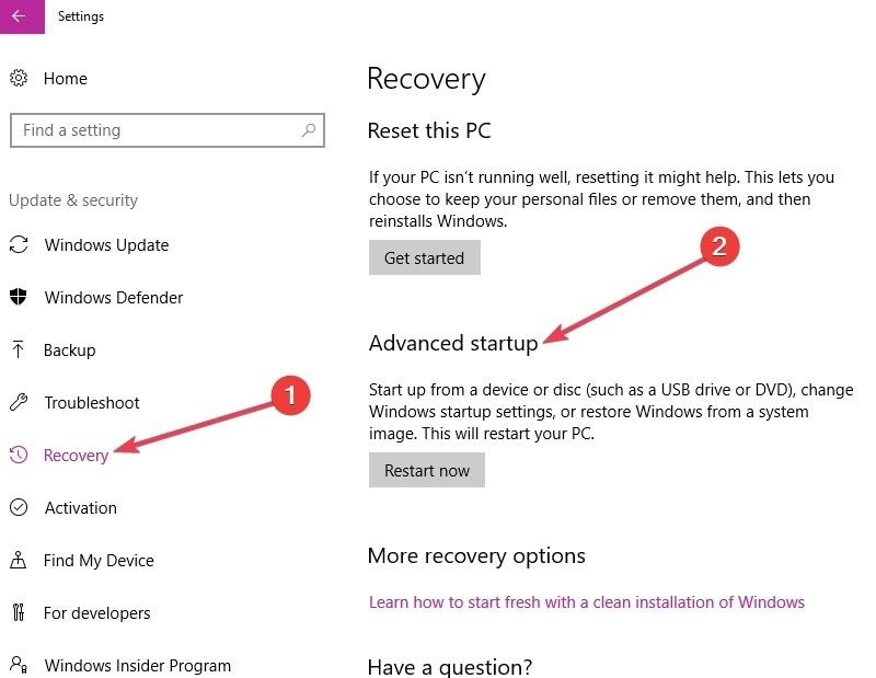 select recovery then advanced startup