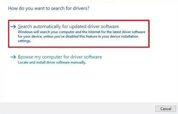 click search automatically for updated driver software